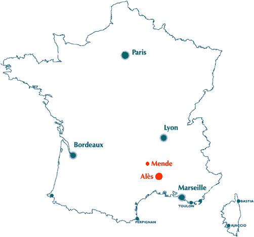 Carte De France Alès | tonaartsenfotografie